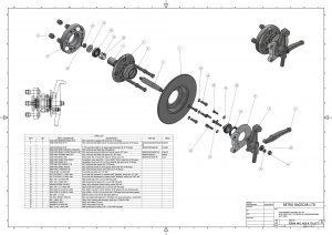 Exploded view of our bespoke remanufactured front hub.